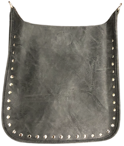 Classic Faux Leather Messenger w/Studs-NO STRAP ATTACHED!