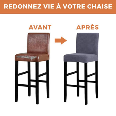 Housse de Chaise Bar <br/> Simili Cuir - Blanc