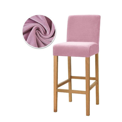 Housse de Chaise Bar <br/> Velours - Fleur Rose