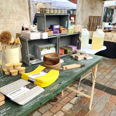 Market stall with a wide range of skin care, household cleaning products and gift items that are all plastic free, ethically manufactured and sustainably sourced.