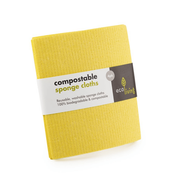Compostable Cleaning Cloths (4 Pack Yellow) - Earth Kind, Rewind
