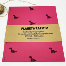 Load image into Gallery viewer, Recycled Kraft Paper Gift Wrap - Vibrant Pink Dinosaur