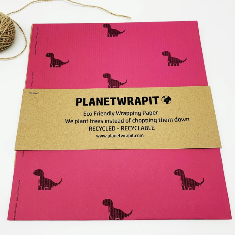 Recycled Kraft Paper Gift Wrap - Vibrant Pink Dinosaur