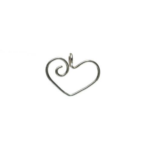 Spiral Heart Sterling Pendant or Charm Holder