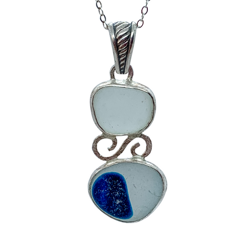 Seaham UK Blue Sea Glass Pendant