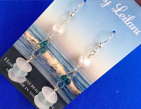 Stacked Sea Glass and Pearl Earrings