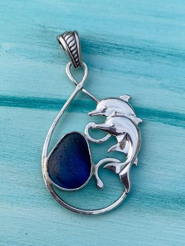 Seaham Blue Beach Glass and Dolphin FIligree Pendant
