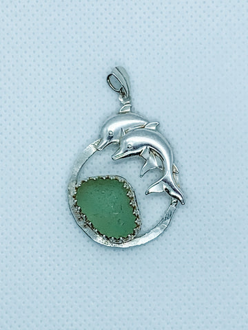 White Beach Glass and Dolphin Pendant