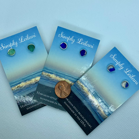 Hawaiian Sea Glass Studs sterling silver (new style)