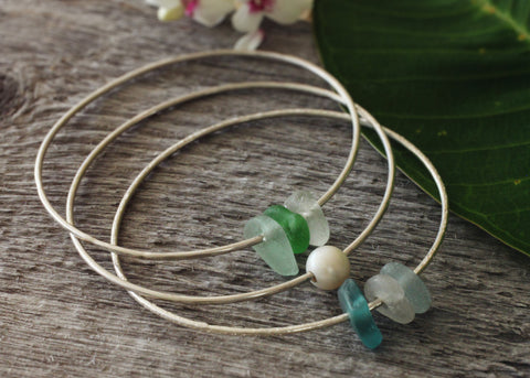 Simply Leilani sea glass bangle stack