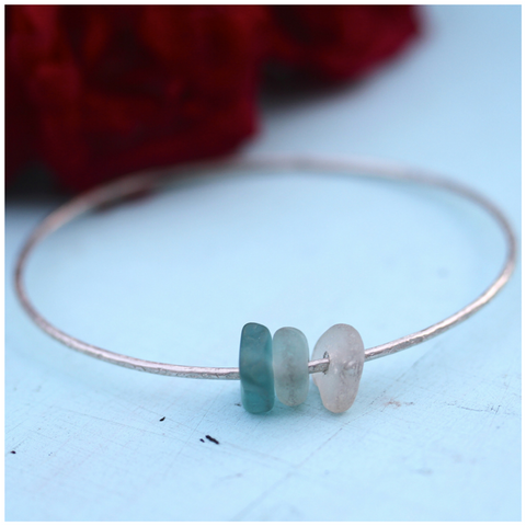Bright Aqua Beachy Sea Glass Bangle