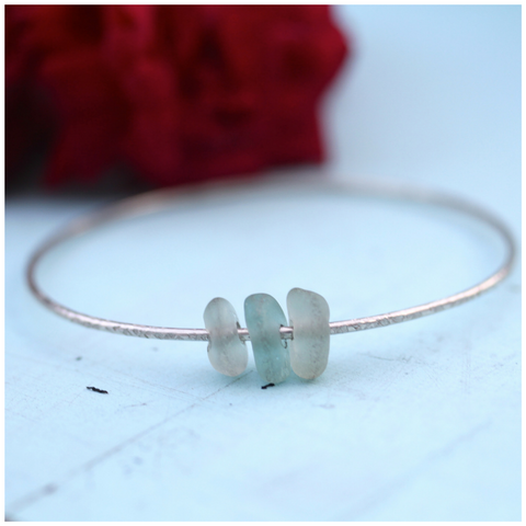 Baby Blue Beachy Sea Glass Bangle