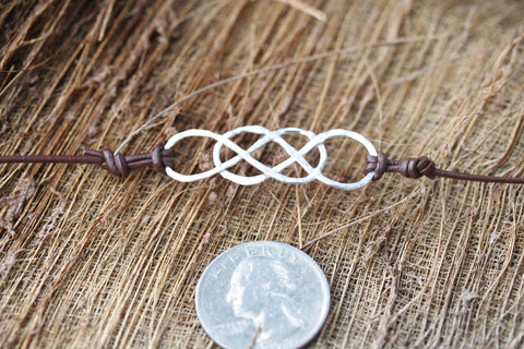 ORIGINAL Double Infinity Leather Bracelet - Silver, Rose or Yellow Gold Filled
