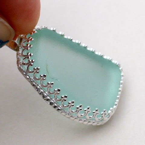 Ice Blue Bezel Set Beach Glass Silversmithed Pendant
