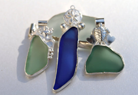 Green Beach Glass Pendant Sea Shell bail