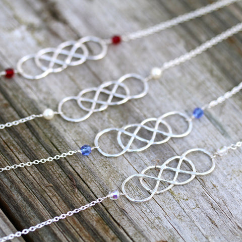 ORIGINAL Double Infinity Sterling Necklace, with birthstones