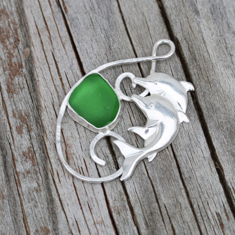 Green Beach Glass and Dolphin FIligree Pendant