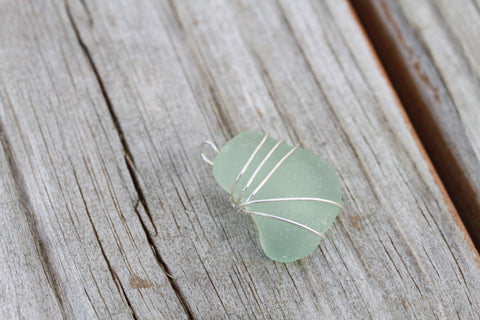 Wire wrapped Hawaiian Beach Glass Pendant