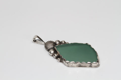 Scallop shell and Pearl Genuine Beach Glass Silversmithed Pendant