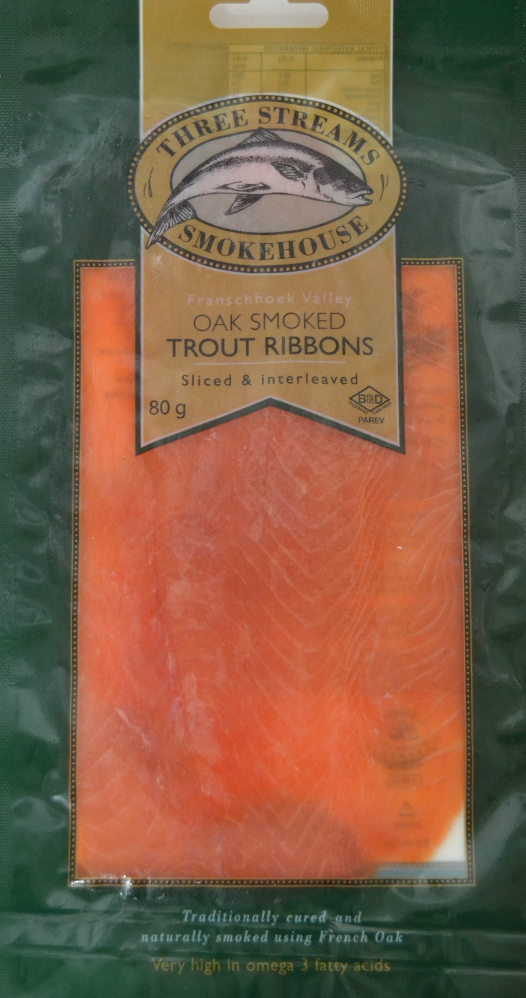 Three Streams Smoked Salmon Trout 80g Premium grade (DELIVERY IN CAPE TOWN ONLY)