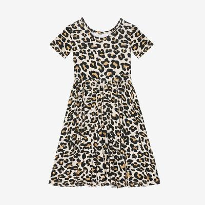 Lana Leopard Tan - Short Sleeve Twirl Dress