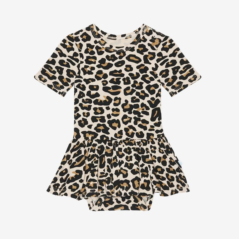 Lana Leopard Tan Short Sleeve With Twirl Skirt Bodysuit