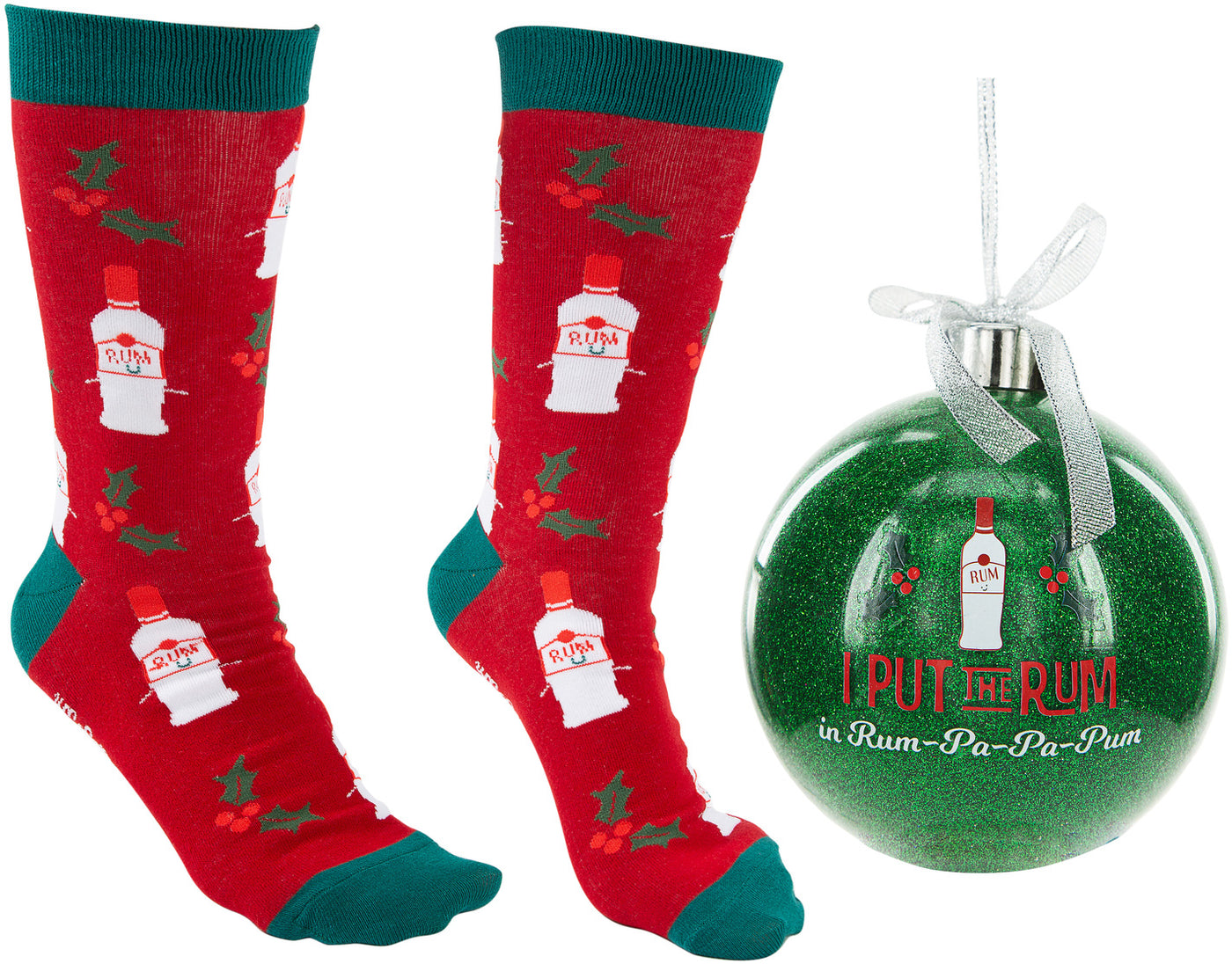 "RUM-PA-PA-PUM - 4"" Ornament with Unisex Holiday Socks"