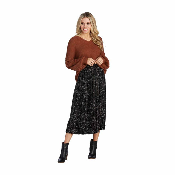 Celeste Midi Skirt - Black Dot