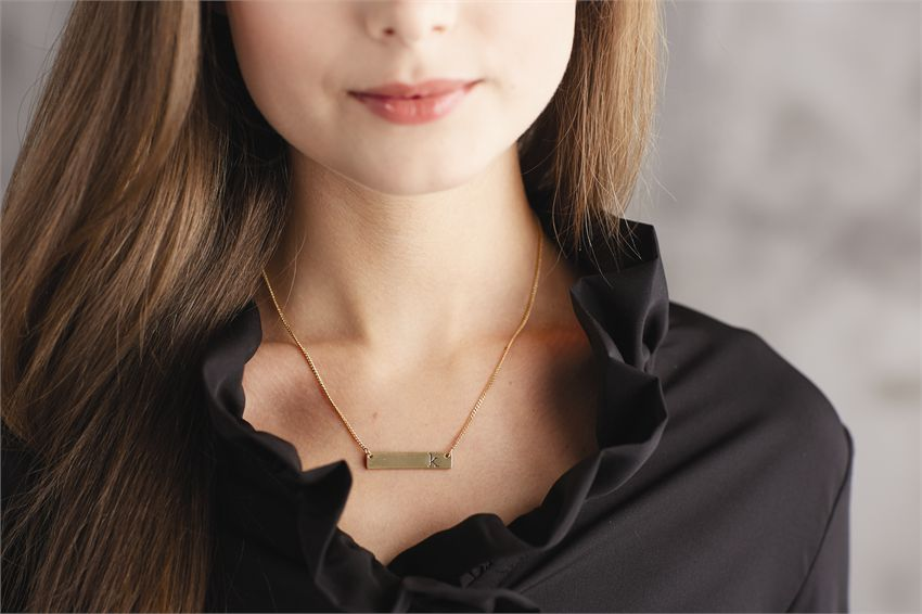Chelsea Initial Bar Necklace - R