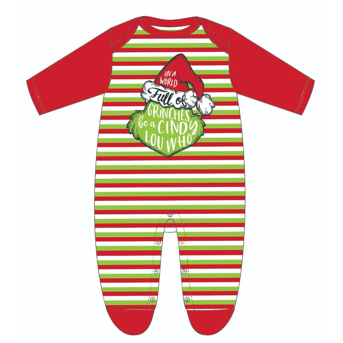 In a World Full of Grinches Be a Cindy Lou Who Multi Stripe Onesie