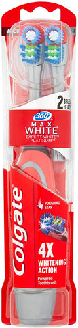 Colgate 360° Max White Expert Whitening Battery Powered Toothbrush Heads, Pack of 2