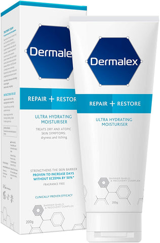 Dermalex Repair + Restore – Ultra Hydrating Moisturiser Cream for Dry Skin – 200 g