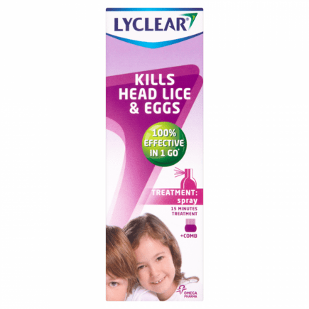 Lyclear Treatment + Comb Spray Kills Head Lice & Eggs 100ml