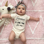 """Grandma Has Waited A Long Time For Me"" Baby Romper"