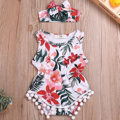 Baby Pompon Decor Floral Bodysuit and Bowknot Headband Romper