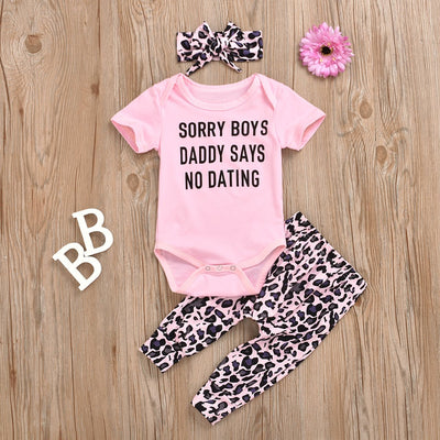 3PCS Short Sleeve Leopard Pinted Baby Set