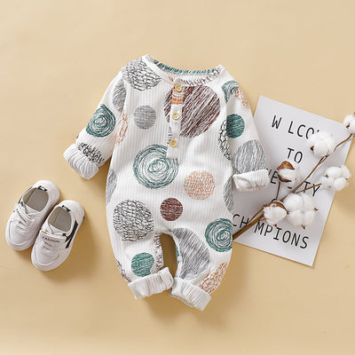Cute Full Colored Pencil Circles Printed Long-sleeve Baby Jumpsuit