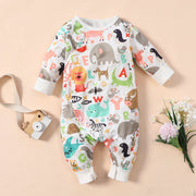 Sweet Animal Paradise Printed Baby Jumpsuit