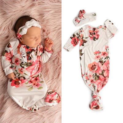 2PCS Pretty Floral Printed NewBorn Baby Sleeping Bag