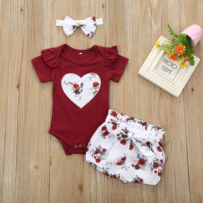 3PCS Cute Floral Printed Baby set