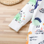 Lovely Newborn Baby Autumn And Winter Cartoon Dinosaur Printed Long-sleeve Jumpsuit