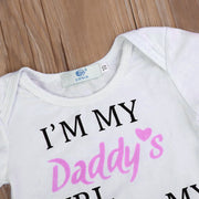 "3PCS ""Daddy's Girl Mommy's World"" Floral Printed Baby Set"