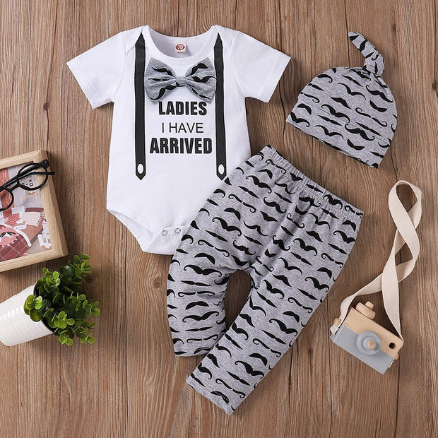 3PCS Ladies I Have Arrived Printed Romper Set