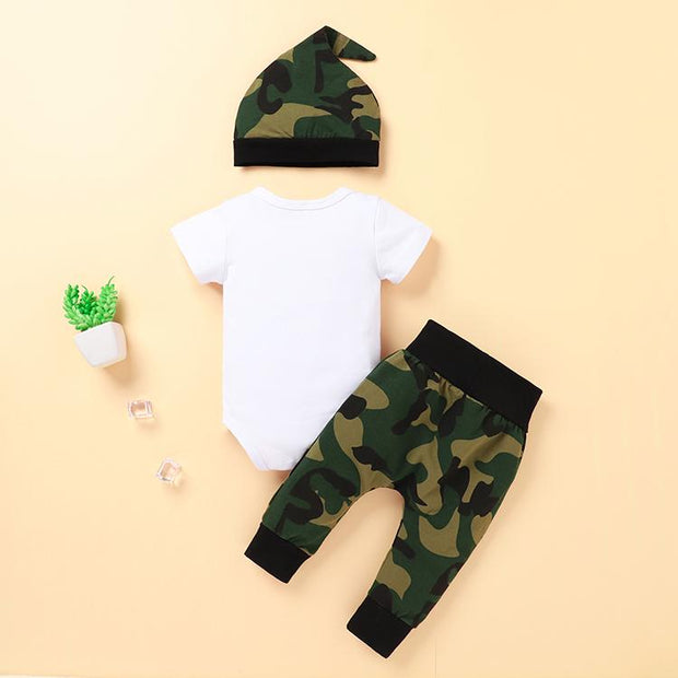 3PCS Cool Camouflage Printed Baby Set