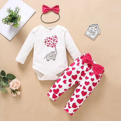 3PCS Cartoon Elephant Printed Romper with Hearts Printed Pants Baby Set