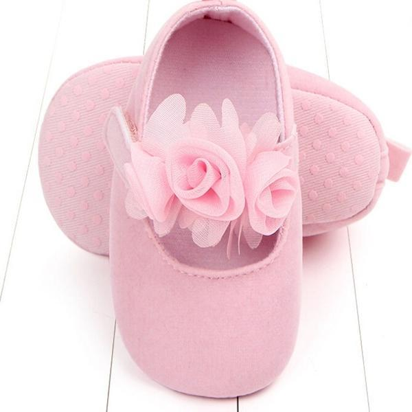 Solid Color 3D Flower Princess Athletic Baby Girl Shoes