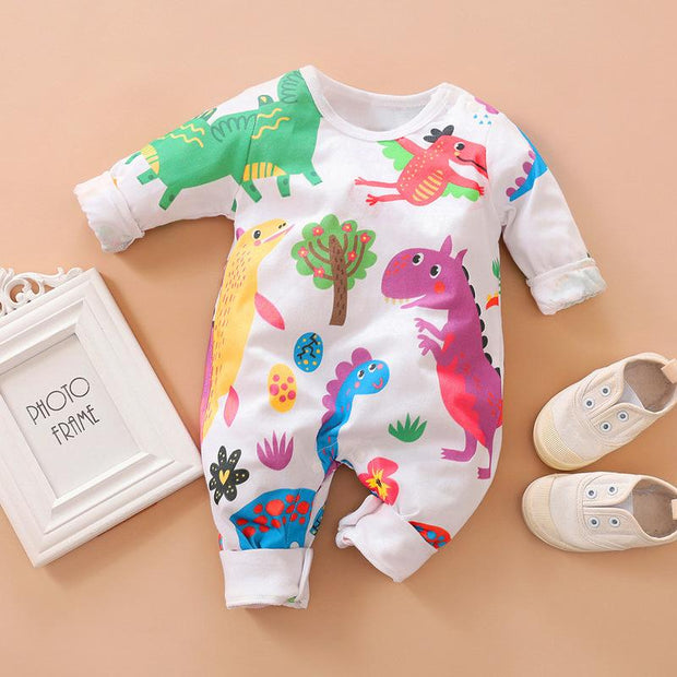 Lovely Dinosaur Printed Baby Jumpsuit