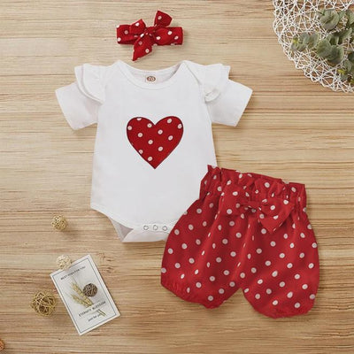 3PCS Heart-shaped Polka Dots Printed Baby Set