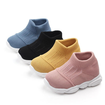 Solid Color Flyknit Prewalker Athletic Baby Shoes