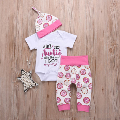 """Aint' no auntie like the one i got"" Donuts Full Printed Baby Set"
